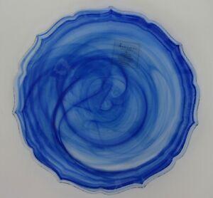 "ARTISTIC ACCENTS Glass Dinner Plates Cobalt Blue Swirl Set 6 Scalloped 10.5"" NEW"