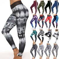 Womens Print Yoga Leggings Workout Gym Fitness Pants Athletic Stretch Trousers