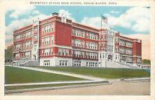 Cedar Rapids Iowa~Roosevelt Junior High Shool~Plaid Wall Design~1937 Postcard