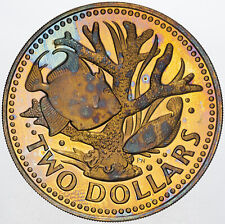 1980 BARBADOS 2 DOLLARS REMARKABLE TONED PROOF GEM COLORING PRIME (MR)