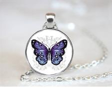 Purple Butterfly PENDANT NECKLACE Chain Glass Tibet Silver Jewellery