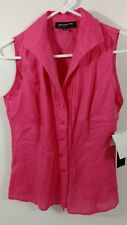 Jones New York Top Womens Sleeveless Button Down Blouse Size 4 100% Linen NEW!