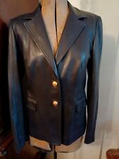 ST JOHN SPORT Black 100% Lamb leather jacket with gold signature buttons size S