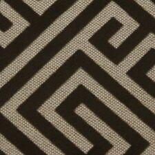 "Microfibres Kirkland Mocha Brown Geometric Key Velvet Linen Fabric By Yard 58""W"