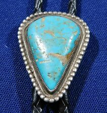 NATIVE AMERICAN STERLING TURQUOISE CAB HANDMADE BOLO TIE