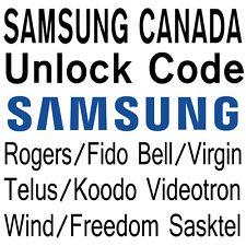 Unlock Code Videotron Wind Freedom Samsung Galaxy S8 S8+ S7 S6 A5 J1 J3 Note 5 4