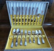 ANTIQUE PLYMOUTH SILVERPLATE 52 PIECE PATTERN VINTAGE ROSE FLATWARE 1897-1938