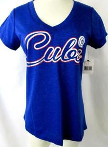 "Chicago Cubs Women Medium Foil Screened ""CUBS"" Glittery V-neck T-shirt CGC 43"