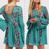 Intimately Free People Symphony Slip Dress in Jade Combo Bell Sleeve Size XS