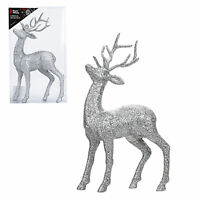 Glitter 26cm Standing Reindeer Stag Christmas Decoration - Choose Colour