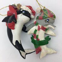 Vintage Sea World Shamu Killer Whale Dolly Dolphin Christmas Ornament Lot