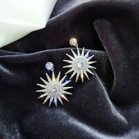Pretty 925 Silver,Gold Stud Earrings for Women White Sapphire Jewelry A Pair/set