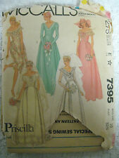 Vintage McCall's 7395 OFF SHOULDER WEDDING GOWN DRESS Sewing Pattern Women Sz 10