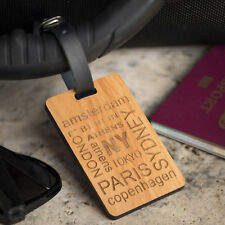 Personalised Laser Engraved Wooden Luggage Tag with Leather Strap - Cities Text