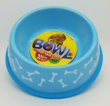 BNWT Unbranded Bone Print Blue Non Slip Round Dog Bowl 400ml