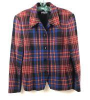 Vintage PENDLETON 100% Virgin Wool JACKET BLAZER Red Blue Tartan Plaid 10