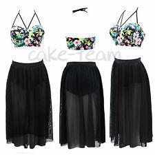 Plus Size Floral Swimsuit High Waist Push Up Padded Bikini Sets Swimwear Dresses