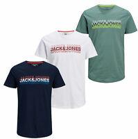 Jack & Jones New Mens Crew Neck Short Sleeve Front Logo T-Shirt White Navy Green