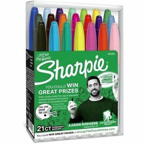 Sharpie Sanford Permanent Marker Fine  Pt Tip  21 Asst Colors Aaron Rodgers New
