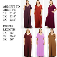 WOMENS PLUS SIZE BIG LOOSE STRETCHY V-NECK CASUAL T-SHIRT LOUNGE LONG MAXI DRESS