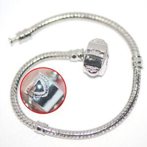 Heart Love Buckle Silver Snake Chain Bracelet Fit European Charm Beads 22cm