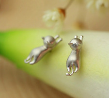 Super Adorable 3D *Hello Kitty* Cat Kitten 925 Sterling Silver Earring Stud