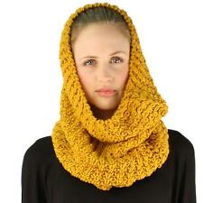 Winter Soft Chunky Pullover Knit Circle Loop Infinity Hood Cowl Scarf Mustard