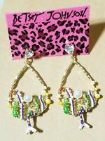 Betsey Johnson Rare  purple rhinestone Pearl Mermaid Drop Earrings Jewelry