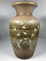 Super Scheurich Vase W.German Abstract Retro Reeds Rushes Lime Earth Vintage MCM