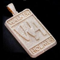 14K Yellow Gold Over 3.48 ct Round Diamond Men's Customized Name Pendant