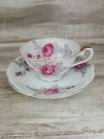 Beautiful Vintage Teacup & Saucer w/ Lovely Flowers Fine China Gold Trim Japan