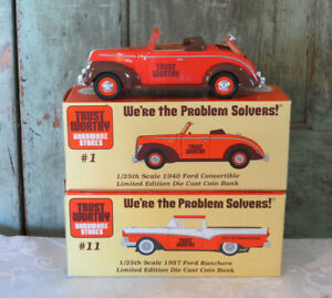 Trust Worthy 1957 Ford Ranchero 1940 Ford Convetible Diecast 1/25 Coin Bank