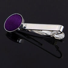 DQT Brass Fabric Inlay Tie Bar Plain Solid Purple Mens Tie Clip