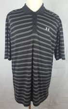 Under Armour Mens XL Black polo shirt white / gray striped Short sleeve athletic