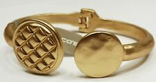 A7) Chico's Burnished Gold Hinged Bangle Bracelet - new with tag