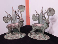 Vintage Ethan Allan Home Decor Metal Deer Scene with Bronze Green Finish