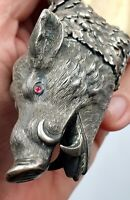 Rare Antique 800 Silver Austrian Cigar Cutter HallMarked Boar Tusk Vienna 106 gr