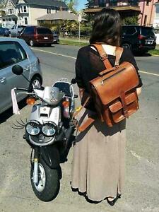 Real genuine men's leather backpack bag satchel handy briefcase laptop vintage