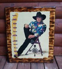 VTG Custom Garth Brooks Wall Plaque Clock Country Music Legend Retro Wood LG