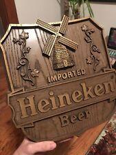 1982 Vintage Heineken Beer Sign Man Cave Plaque Wood Grain Bar Decor Dutch Retro
