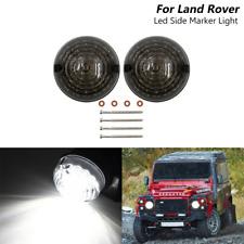 Smoke Land Rover Defender 90-16 Front Led Side Marker Lights 2x 73mm Round Lamp