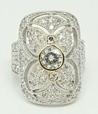 Vintage 18k White Gold 1.38Ct Round Diamond & Moissanite Filigree Ring Size 4.75