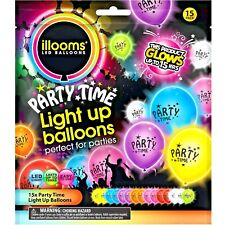 NEW illooms Party Time Mixed Color LED Light Up Balloons, 15-Pack