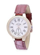 Gevril GV2 9104 Astor Womens Swiss Made 50 Diamonds Watch Leather $2800 Gold NEW