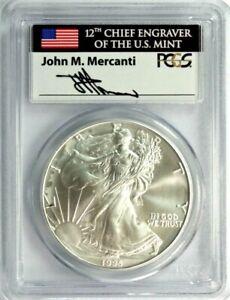 "1995 American Silver Eagle PCGS MS-69 ""Mercanti Signed"" #GA1-14 ""POP 48/5"""
