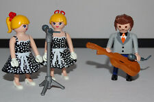 PLAYMOBIL CUSTOM Johnny Hallyday + 2 CHANTEUSES + GUITARE + MICRO