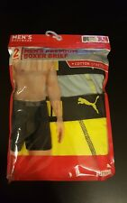 Men's Premium Puma 2 Pack boxer brief Size Large in Yellow/Gray Cotton Stretch