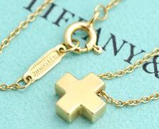 "TIFFANY&Co Roman Mini Cross Necklace 16"" 18k Yellow Gold #2293"