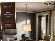 "Allen + Roth 17"" W Pendant Light w/Beige Linen Fabric Shade-Brushed Nickel-New"