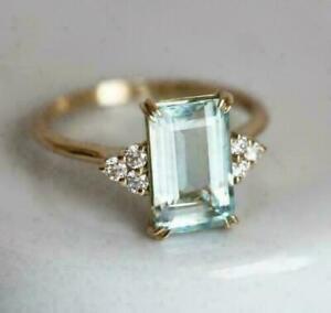 3Ct Emerald Cut Blue Aquamarine Solitaire Engagement Ring 14K Rose Gold Finish